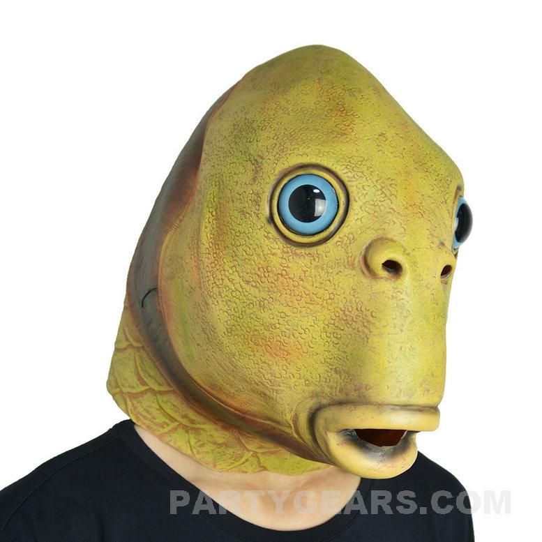 Halloween latex fish mask pgm h16069 partygears for Fish head costume